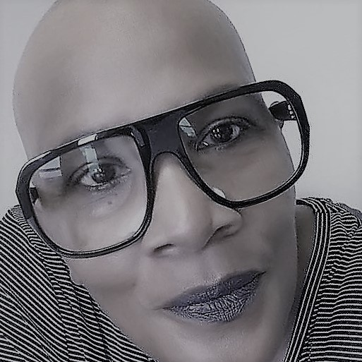 Bald head and Glasses Me Black and White